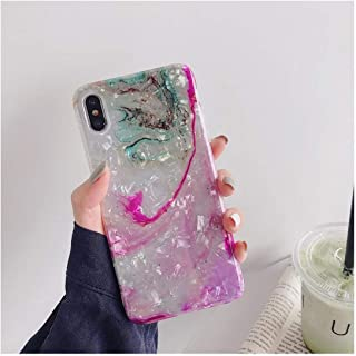 Perfectiy Compatible for Glossy Starry Sky Glitter Marble Granite Phone Case Soft Silicone Cover Shell for iPhone 9 Xr Xs Max X 8 7 6 6S Plus,for I6Plus I6Splus,Bkm1