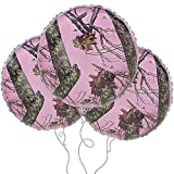 Party Explosions Pink Mossy Oak 18' Round Mylar Balloon 3pk