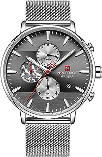 ساعة انالوج بمينا رمادي وسوار شبكي من الستانلس ستيل للرجال من نافي فورس - NF9169-SB