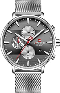 NAVIFORCE Military Watch Men Quartz Analog Stainless Steel Mesh Watch Waterproof Sports Chronograph WristWatch for Men wit...