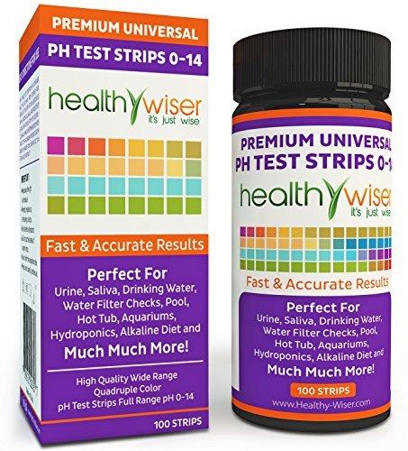 pH Test Strips 0-14, Universal Strips To Test Water Quality For Swimming Pools, Hot Tub, Hydroponics, Aquarium, Kombucha, Household Drinking Water, Soil, Urine & Saliva, Alkaline & Diabetic Diet 100ct