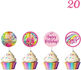 20 Pcs Jojo Cupcake Toppers Party Decorations - Rainbow - Bow - Happy Birthday - BOWS ARE EVERYTHING - Toppers