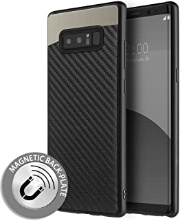 Microseven Note 8 Case, Compatible with Samsung Galaxy Note 8 [Carbon Fiber Finish] [Light Thin Cover] [Non Slip] [Bulit-in Metal Plate Works with a Magnet Mount] Case for Note 8 (Metal Carbon Fiber)