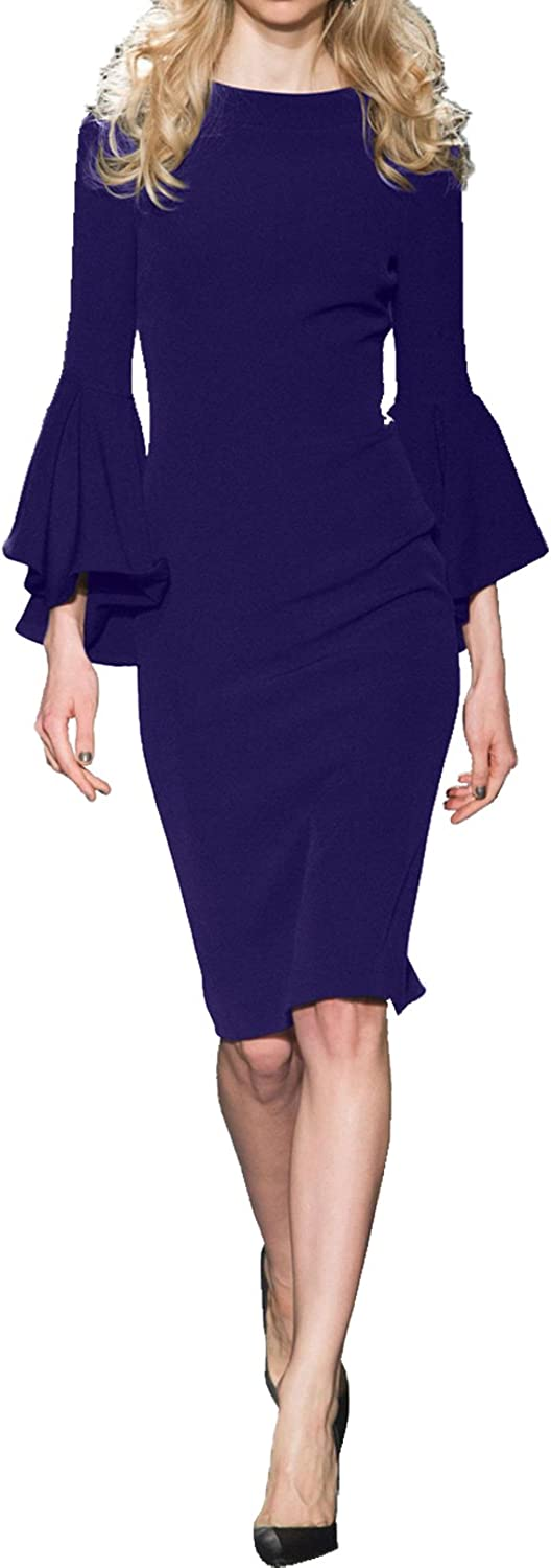 MILANO BRIDE Modest Jewel Long Sleeves Mother Of The Bride Dress Sheath Knee Length