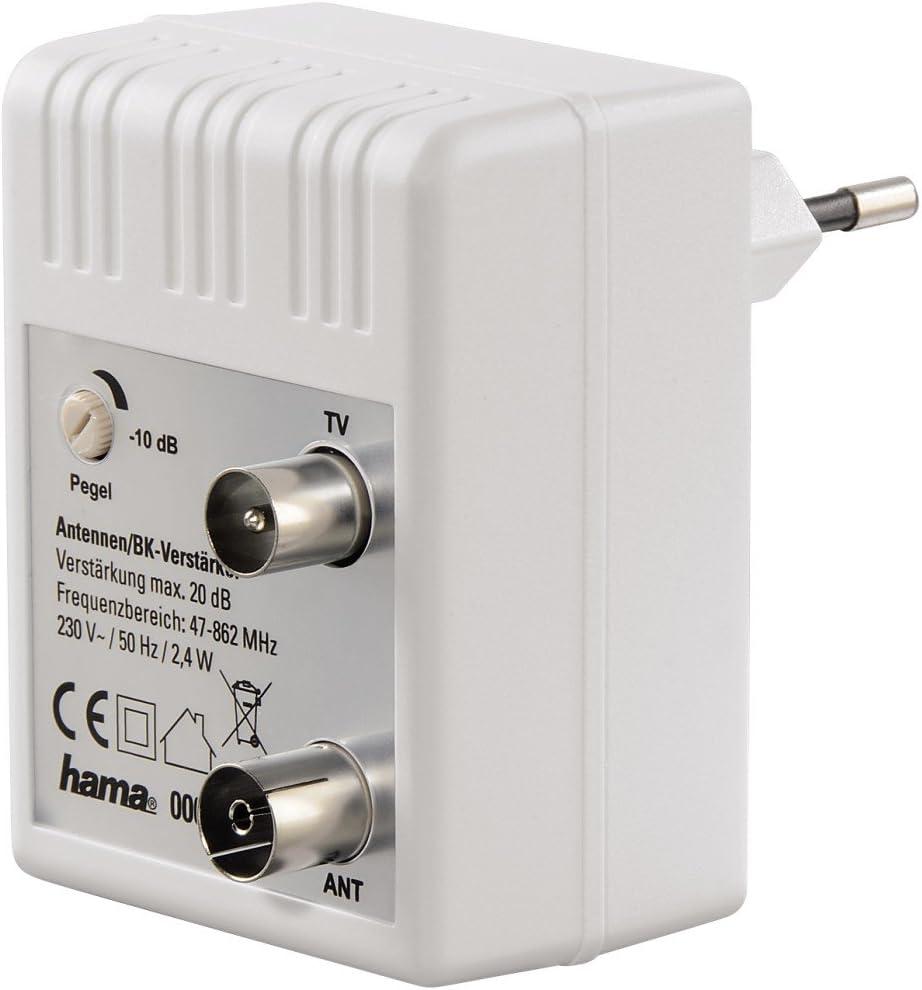 Hama 00122498 - Amplificador de red CATV (20 dB, 50 Hz), color blanco