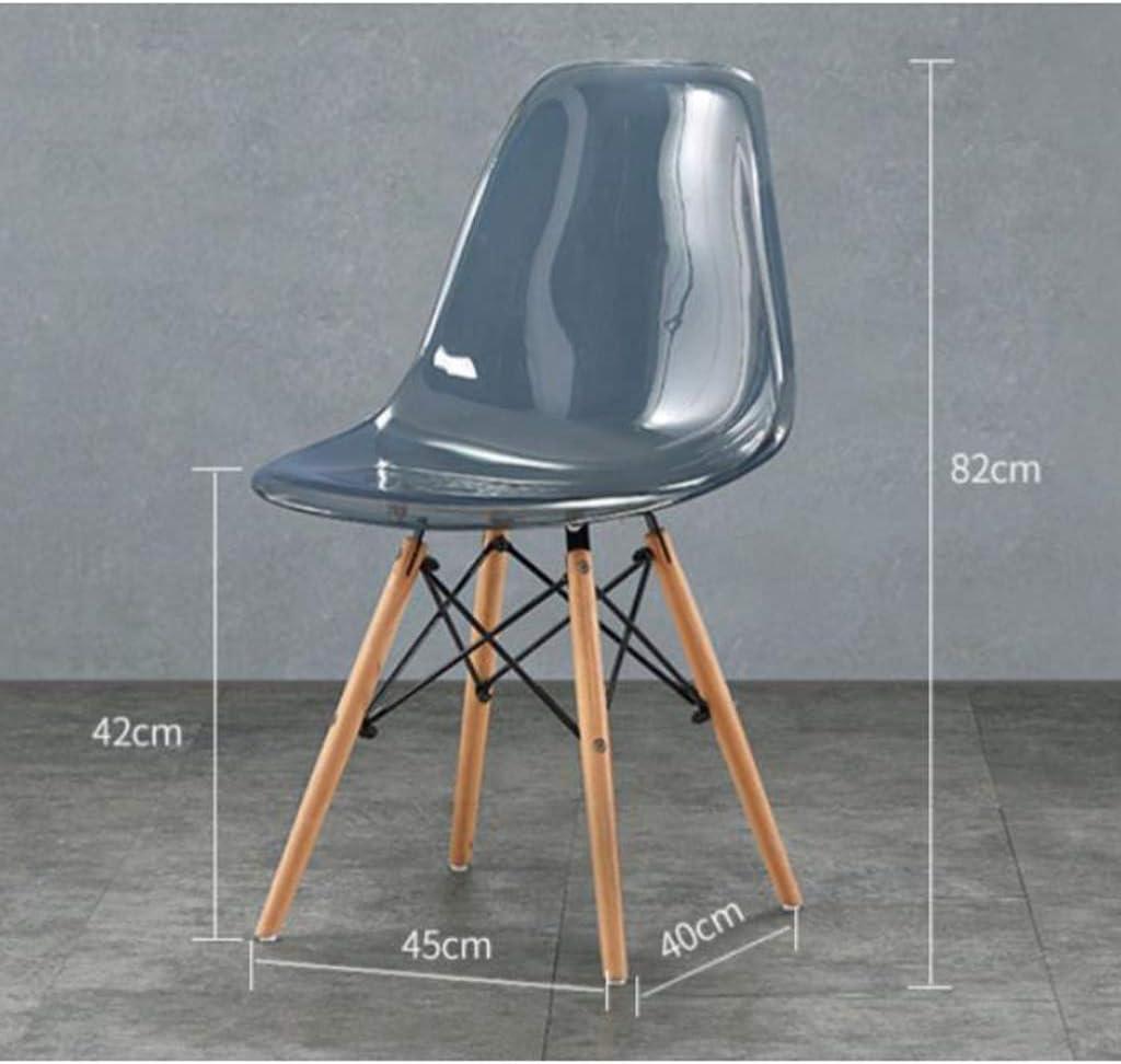 Solide Simple Chaise Bureau étudiant et Chaise de Maquillage Tabouret Retour à la Maison à Manger Chaise d'ordinateur Stable (Color : Light Gray) Transparent White