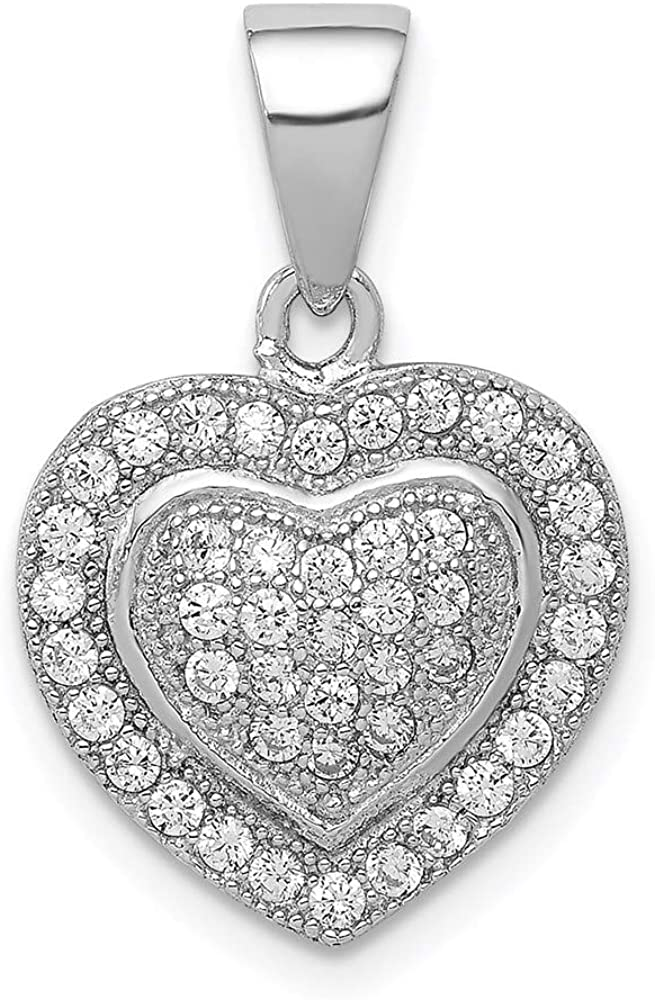 Sterling Silver Rhodium-plated Polished Max 64% OFF Now on sale CZ style Pendant Q Heart