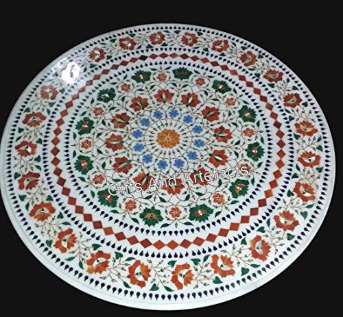 Gifts And Artefacts 27 Inches Octagon Shape Coffee Table White Patio Sofa Table Inlay with Semi Precious Stones