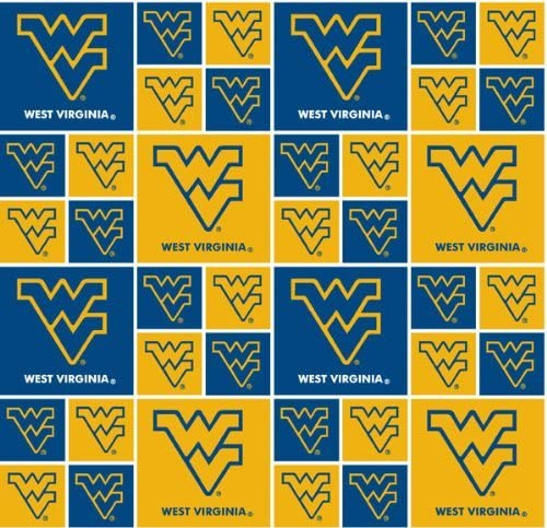 licensed for Crafts and Home Decor NCAA WEST VIRGINIA MOUNTAINEERs Allover Print #1 100/% cotton fabric material You choose length