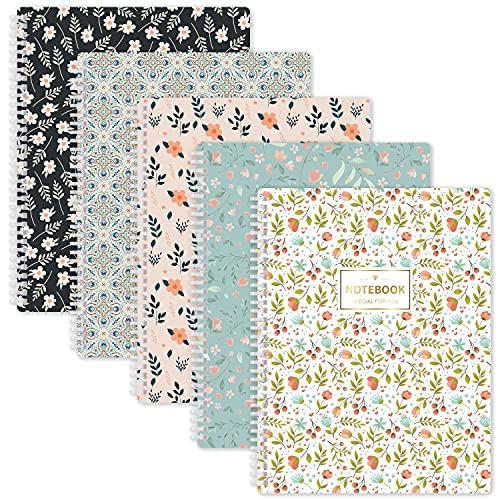 Cuadernos Diario A4 forrado - Paquete de 5 cuadernos A4 forrado con anilla suave, 29,6 x 23 cm, fácil de arrancar