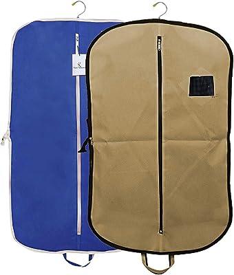 Kuber Industries 2 Pieces Foldable Non Woven Men's Coat Blazer Suit Cover (Brown & Royal Blue) - CTKTC041693