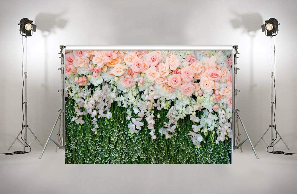 HUAYI Rose Floral Wall Backdrop for Photography Wedding Picture Background Fabric Bridal Shower Photobooth Props Studio Shoot 7x5ft xt-7327