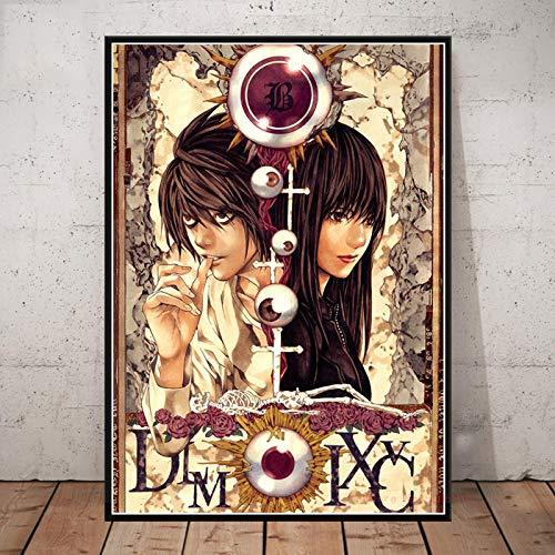 WDQFANGYI Carteles De Death Note, Serie Clásica De Anime, Impresiones En Lienzo, Decoración De Habitación De Bar, Pintura, Imagen Artística, 50X70Cm (FLL5644)
