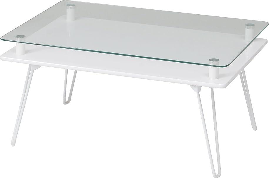 ありふれた主にパッケージ不二貿易 ディスプレイ ローテーブル 幅70cm ホワイト 強化ガラス クラリス 84483