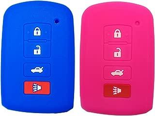 Coolbestda 2Pcs Silicone Smart Key Fob Cover Protector Keyless Jacket Holder Case for 2016 2015 2014 Toyota Avalon Camry Corolla RAV4 Highlander Rose Blue