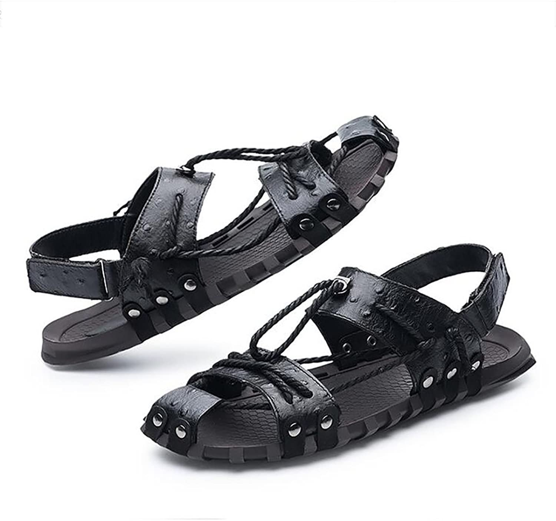 SHANGXIAN Men's Sandals Open Toe Leather Slipper Summer Beach Casual Non-Slip shoes Sandals,Black,44