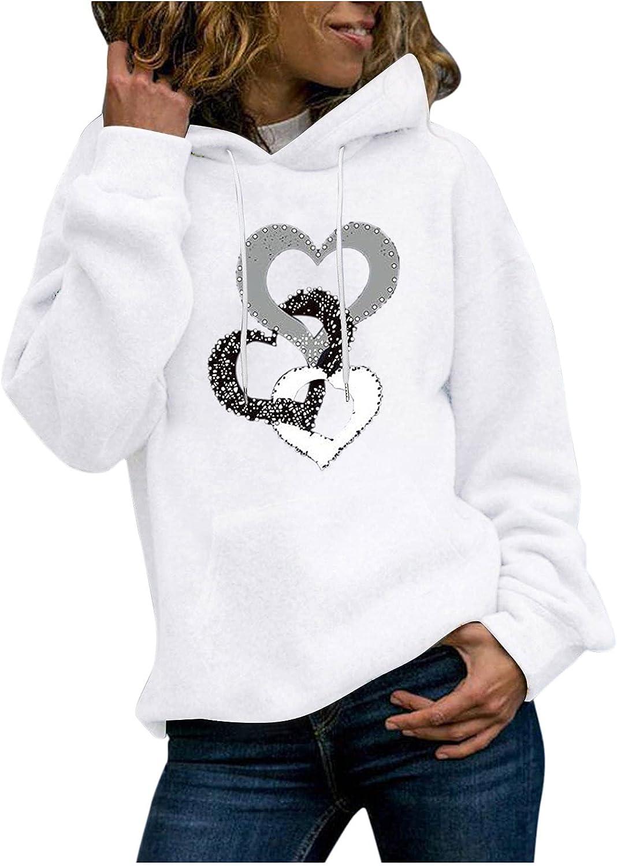 UOCUFY Hoodies for Women, Women Girls Cute Printed Long Sleeve Sweaters Casual Loose Pullover Tops Sweatshirts