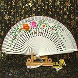 LXRLYN Abanico Plegable, Abanico Blanco de Madera español Abanico Plegable Regalos artesanales Moderno Fantasía de Trabajo Encanto Estilo múltiple Artesanías Madera F