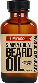 Simply Great Beard Oil - LUMBERJACK Scented Beard Oil - Beard Conditioner 3 Oz Easy Applicator - Natural - Vegan and Cruelty Free Care for Beards - America's Favorite
