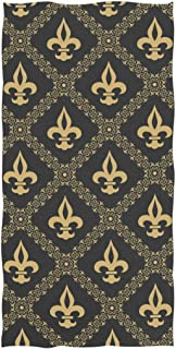 Naanle Golden Fleur De Lis Classical Pattern Soft Absorbent Guest Hand Towels Multipurpose for Bathroom, Hotel, Gym and Spa (16 x 30 Inches)