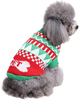 Isshe Christmas Dog Costumes Dog Winter Jumper Coat Pet Knit Sweater Puppy Warm Clothes for Dogs Puppy Kitten Cats