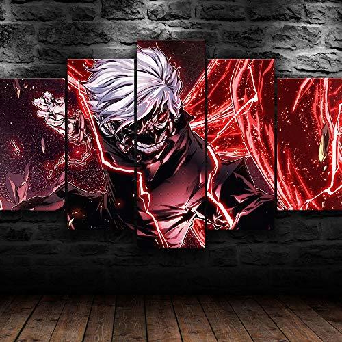 Painting 5 Piezas Cuadro sobre Lienzo Ken Kaneki Tokyo Ghoul Anime Impresión Pinturas Murales Decor Dibujo con Marco Fotografía para Oficina Aniversario