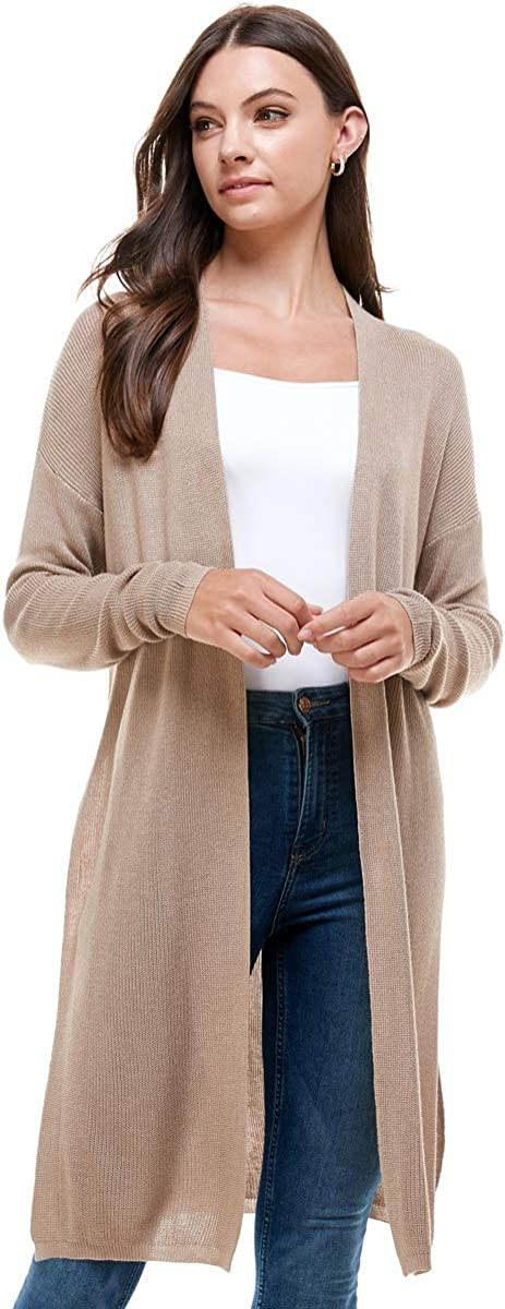 Womens Open Light Knit Cardigan - High Slit Chain Knit Sweater