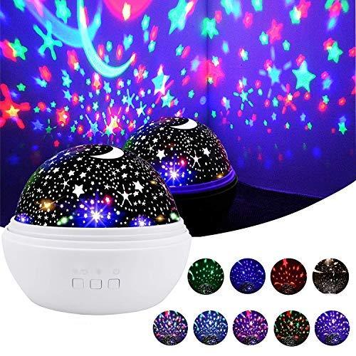 RUOBAI Proyector Lampara de Estrellas de 360 Grados Romántica Cosmos Luna de Luz Nocturna Dormitorio para Niños Bebés Regalos de la Navidad los Amantes Lámpara de Proyección(blanco)