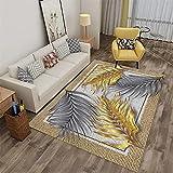 Anti-Milbe antifouling Salon Teppichboden Grau Wohnzimmer Teppichgrau Grey Gelb Blätter Muster Weiche Teppich Wasserwäsche hausdesign Auslegware 120x160cm Teppich 3ft 11.2''X5ft 3''