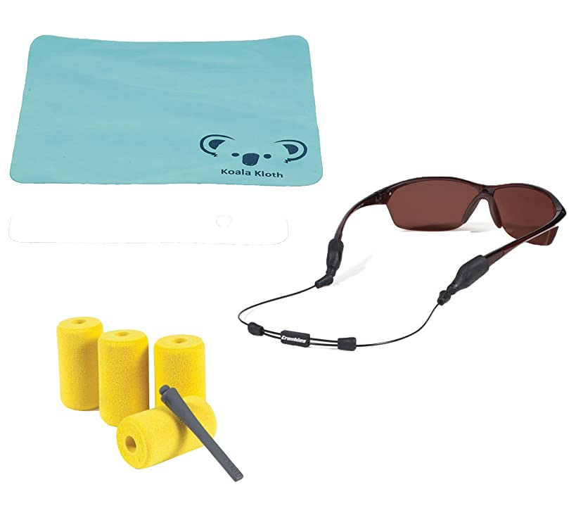 Croakies Arc Endless Eyewear Retainer Wire Sunglass Strap + Floating Kit | Large & XL Combo End | Thin Adjustable Eyeglass and Sports Glasses Cable Holder Keeper Lanyard | Bundle + Cloth