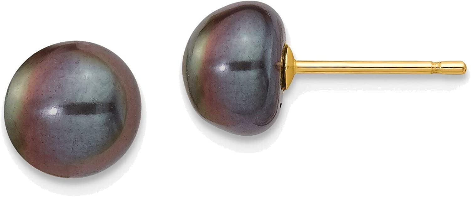 7-8mm Black Button Freshwater Cultured Pearl Stud Post Earrings in 14K Yellow Gold