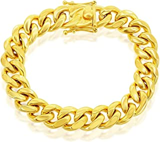 """Men's 14mm Miami Cuban 8.5"""" Link Bracelet Gold-Plated Stainless-Steel Jewelry for Men"""