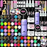 Morovan Acrylic Nail Kit Liquid Monomer with Glitter Powder and Carving Powder Set, Full Complete Practice Hand Finger Nails Tips With Everything, Nail Art Brush DIY Tools for Professionals, Beginners