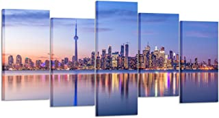 Kreative Arts - 5 Piece Canvas Wall Art Toronto Skyline with Purple Light City Skyline Panorama at Night Modern Home Decor Stretched and Framed Ready to Hang for Living Room (Large Size 60x32inch)