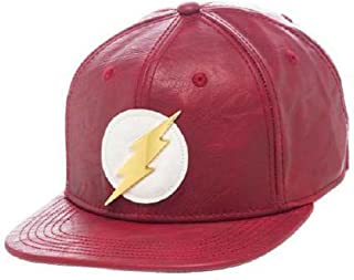 Bioworld Official- DC Comics Flash- Faux Leather Snapback Hat- One Size Red