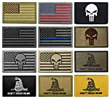Yunxin (12 枚セット)タクティカル ワッペン アメリカ 国旗 刺繍 腕章 ミリタリー パッチ 星条旗 サバゲー/バック/キャップ用 パッチ 8*5cm