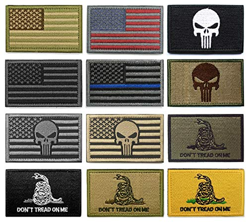 WZT Bundle 12 Pieces American Flag Tactical Morale Military Patch Set