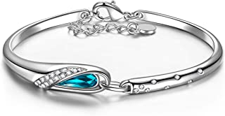 Brazalete, Zapatilla de Cristal, Chapada en Platino, Cristal Azul de Swarovski, Embalaje de Regalo, Regalos para Mamá