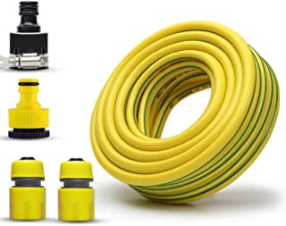 Garden Hose HAIYU- 1/2 Inch PVC Flexible Water Hose, 12mm Soft Hose Pipe Ideal for Gardening/Irrigation/Car Washing, with Standard Connecting Kits, Yellow (Color : 1/2 Inch, Size : 100m)