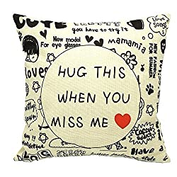 Image: Decorative Throw Pillow Covers Hug This When You Miss Me And Cotton Square Cushion Case Casual Life Background Toss Pillowcase with Hidden Zipper Closure