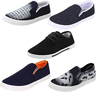 Earton Men Combo Pack of 5 Loafers & Moccasins with Casual Shoes