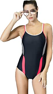 Women's One Piece Swimsuit Padded Backless Sport Swimwear Tummy Control Stylish Pattern Swimming Costume Sexy Beachwear Soft and Comfortable Without Irritation (Color : Style 1, Size : 18)