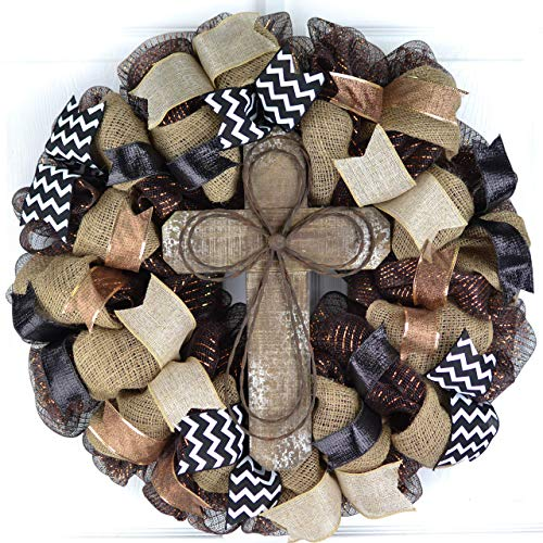 Rustic Door Wreath | Cross Mesh Wreath | Gift for Wife | Front Door Wreath | Black Burlap White Brown