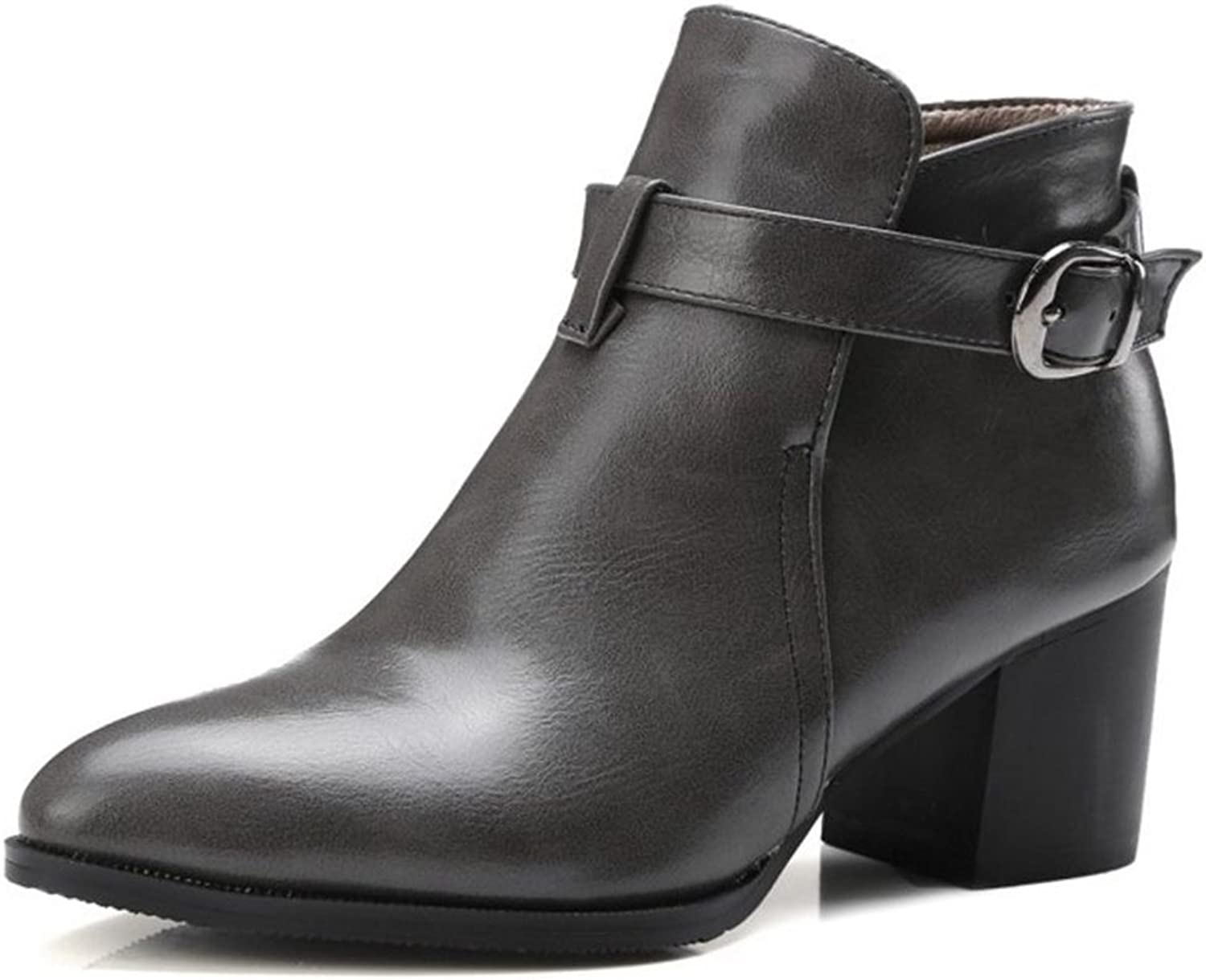 Smilice Large Size & Small Size Women Mid Block Heel Pointy Toe Ankle Booties Black
