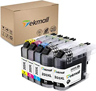 Tekmall Compatible Ink Cartridges Replacement for LC203XL LC 203 for MFC-J485DW MFC-J480DW MFC-J885DW MFC-J460DW MFC-J880DW MFC-J680DW MFC-J4420DW Printers 5 Pack