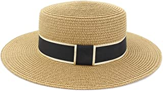 WELSUN Straw Wide Brim Boater Hat Lady Sun Hat Summer Vacation Beach Hats Protection Handmade Top Hat (Color : Khaki, Size : 56-58CM)