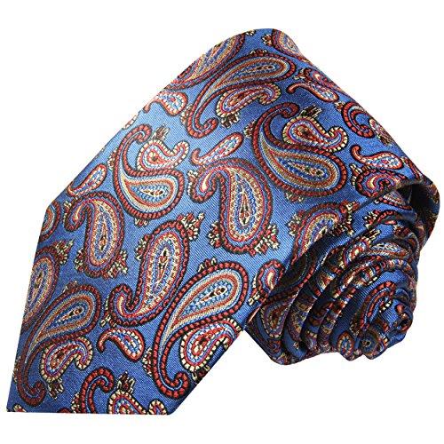 Cravate homme bleu rouge paisley 100% soie