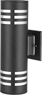 TENGXIN 2-Lights Outdoor Wall Sconce,Up/Down Porch Light,Stainless Steel 304 and Toughened Glass,Black Finished,E27,UL Listed,13 Inch Height.