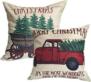 ULOVE LOVE YOURSELF 2Pack Merry Christmas Pillow Cover with Christmas Tree and Vintage Red Truck Pattern Cotton Linen Home Decorative Throw Cushion Case 18 x 18 inch (Christmas-1)