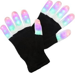 LED Handschuhe mit 3 Lichtfarbe und 6 Modus, blinkende Handschuhe Spielzeug für Weihnachten, Halloween, Party und Karneval, Kostüm Beleuchtung Geschenke für Teenager,Erwachsene (für Erwachsene)